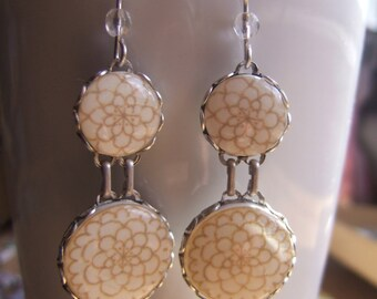 Mexican Bridal Earrings, MTO, Quinceanera, dangle, wedding jewelry, Mexican Folk art, ceramic tile design, white, off white