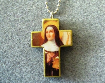 St. Hildegard Von Bingen Wood Catholic Crucifix Necklace Doctor of Church H1 - Handmade