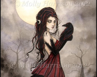 The Raven Witch Wiccan Fine Art Fantasy Print of  Painting by Molly Harrison 9 x 12