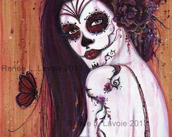 Renita  day of the dead print  8x10.5 by Renee L. Lavoie