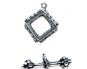 Square Silver Toggle- pewter toggle clasp