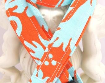 Lanyard Badge Holder with Breakaway Clip Amy Butler Belle Acanthus Orange Aqua