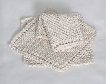 Cotton Knitted Dishcloths Washcloths Facecloths, Natural Off-White Cream, 8 inch Cloths, Set of 3
