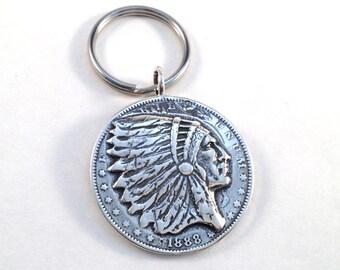 Indian Dollar Keyring made from Morgan Silver Dollar Coin Key Ring