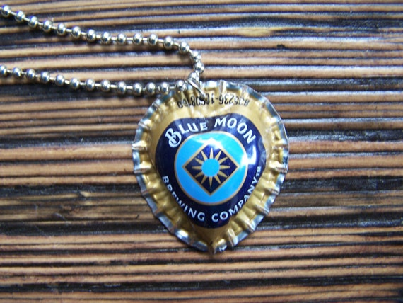 Blue moon beer heart shape bottle cap necklace by for Beer cap jewelry