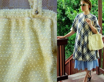 VANILLA 1950's 60's Vintage Large Buttercream Beaded Purse with Handles