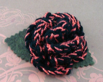 Crocheted Rose Lapel Pin - Black with Orange Glitter (SWG-PL-ZZ01)