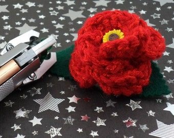 Amy Pond - Crocheted Rose Barrette - Red with a Sunflower (SWG-HB-DWAP01)