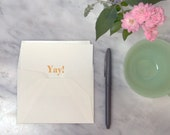 Yay: Letterpress Flat Cards & Envelopes (6 ct)