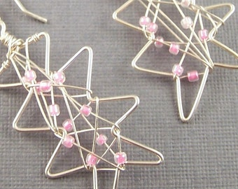 Pink  Glass and Sterling Silver Abstract  Freeform Earrings
