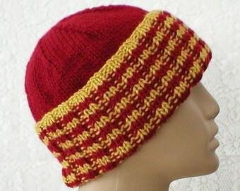 Watch cap, crimson red mustard gold, striped hat, ribbed beanie hat, toque, ski snowboard, biker runner hiker, skateboard, mens womens hat