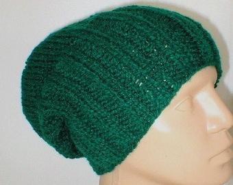 Dark green watch cap, slouchy hat, brimmed beanie, green hat, knit toque, biker runner hiking, ski snowboard, skateboard, mens womens hat