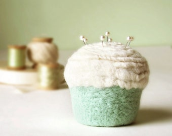 Pincushion - Felted Cupcake in Vanilla Mint