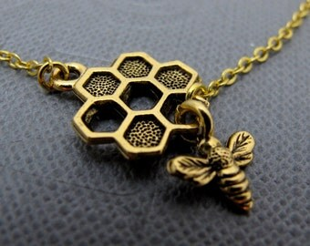 """18K Gold Bumble Bee Bracelet // Dangle Honeycomb and Honey Bee Charm // 7"""" Chain Bracelet // Gift under 20"""
