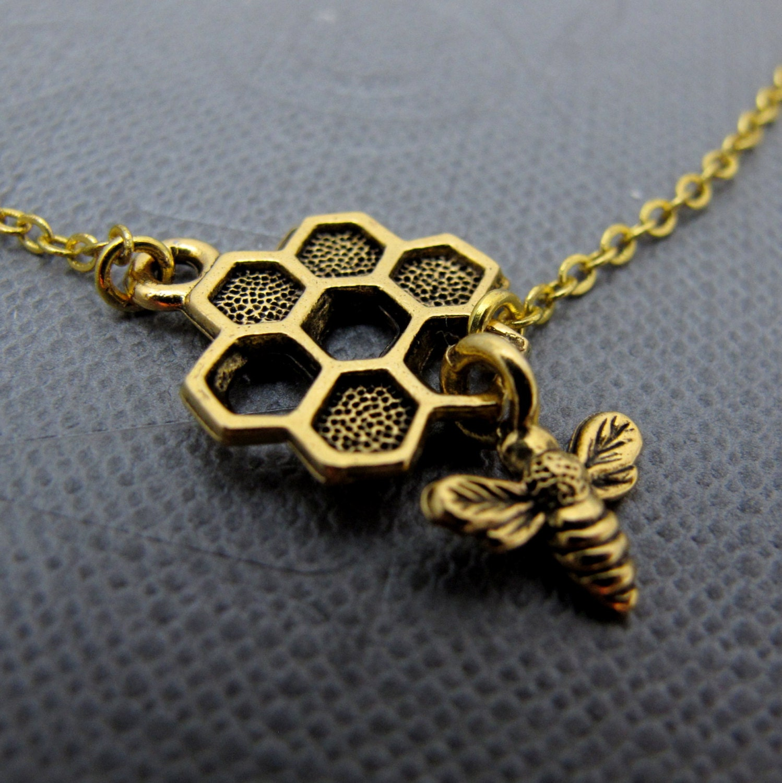 18k gold bumble bee bracelet dangle honeycomb and honey bee