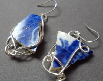 Blue China Sea Glass Earrings with Silver
