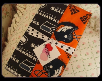 Super  Football Team Rival  Seahawks Patriots (Or your Choice)  Big Game Bowl Burp Cloth