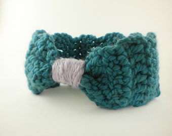 Crochet Headband Bow Style in Dusty Teal - Winter Earwarmer Headband for baby girl, child, or woman