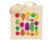 5 A Day Tote Bag - Kawaii Fruit and Vegetables