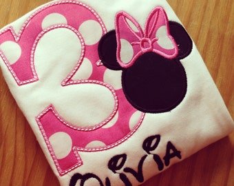 Minnie Mouse personalized Birthday Tshirt Your choice of number or letter
