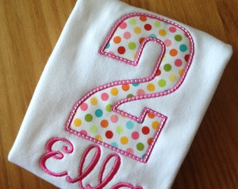 Polka Dot Birthday Number Appliqued Tee Your choice of number