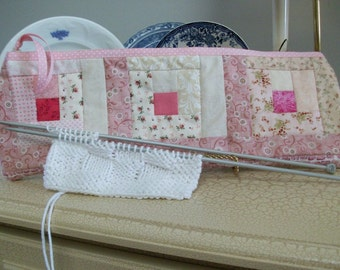 Quilted Knitting Organizer Case, pink, log cabin quilt blocks, Knitting Needle Case, Quilted, Project Bag