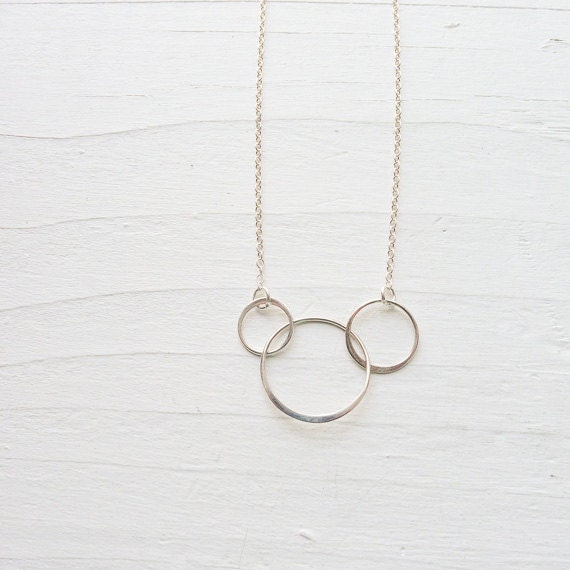 items similar to three circle necklace interlocking 3 link