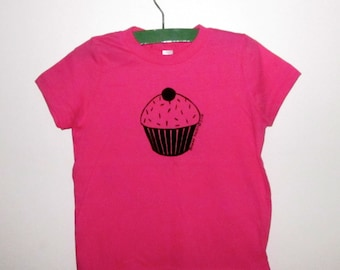 Cupcake Children's Tee Shirt in Hot Pink