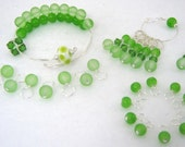 Fiddlehead Fern Complete Knitting Set (Row Counter Bracelet, Stitch Markers, Small and Medium Droplets)