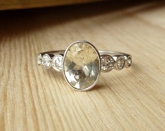 Oval Gemstone and Diamond Bezel Set Ring - Deposit