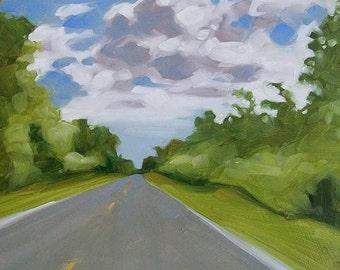 DOWN THE ROAD original oil landscape of road