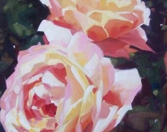 GRANDMA'S ROSES orginal oil floral of roses
