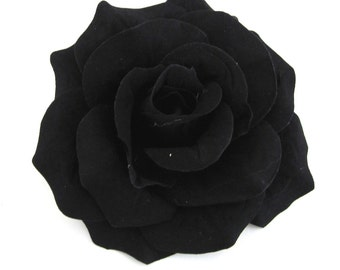 Black Fabric  Rose Flower Hair Clips And Brooch