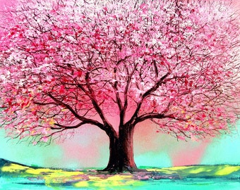 Print on canvas of original painting landscape by Aja - Story of the Tree 74 16x20, 36x48 inches choose size