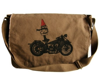 Biker Gnome Mens Messenger Bag, Hand Screen Printed Cotton Canvas, Back to School, Gift for Men, Computer Bag, Gift for a Biker