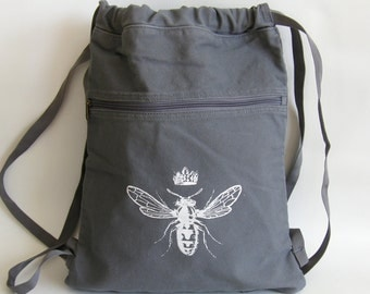 Queen Bee Back Pack-Cinch Sack-Screen Printed Cotton Canvas- Smoke Gray by Viva Sweet Love