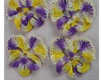 Crocheted Yellow and Purple Pansy Garden