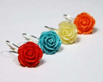 Carved Rose Drop Earrings Coral Turquoise Ivory White Pink Salmon Peach Sterling Silver Leverback Floral Flower Garden 12mm Gifts Under 20