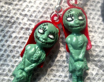 Zombie Girl earrings pierced novelty jewelry