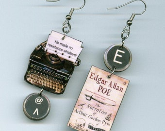 Book Earrings - Arthur Gordon Pym Poe quote - Typewriter jewelry - literary teacher's gift - book club