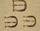 Vintage Set of Three Gold Horseshoe Shaped Buckles with 1 Inch Opening