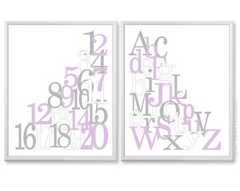Nursery Wall Decor - Set of 2 Baby Girl Art Prints - Alphabet and Numbers - Lilac and Gray - 8x10 Kids Wall Art Kit, Girls Playroom Prints