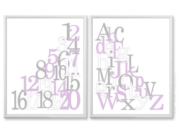 Alphabet Wall Decor Nursery : Nursery wall decor set of baby girl art prints alphabet