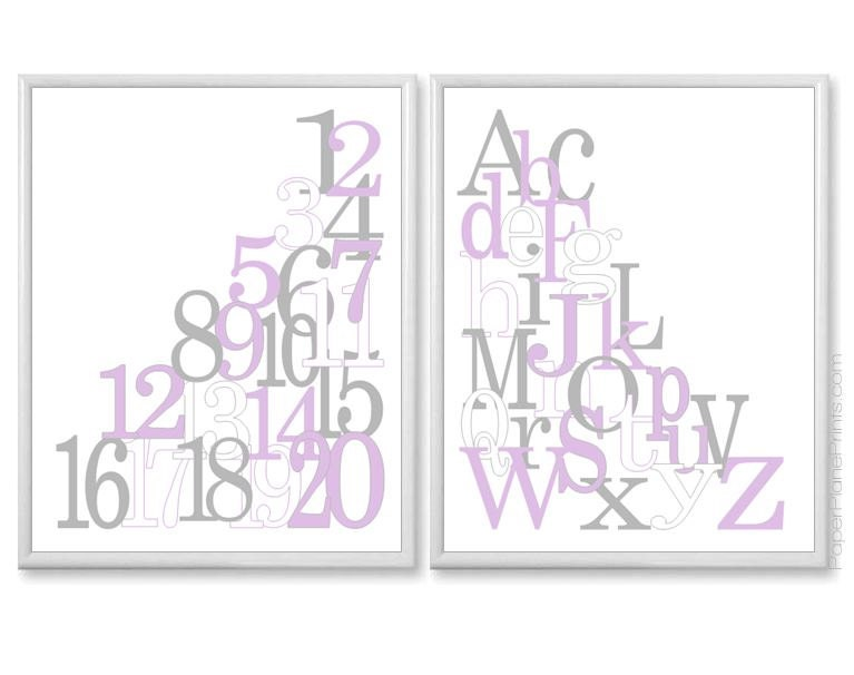 Nursery Wall Decor Set : Nursery wall decor set of baby girl art prints alphabet