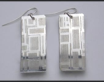 MODULAR - Handforged Embossed Modern Geometric Design Pewter Earrings