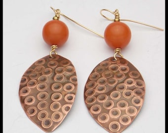 TATIANA - Handforged Embossed Copper and Amber Resin Tribal Style Earrings