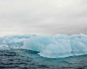 "Winter Photography, Iceberg Landscape Photography, Nature Art Print, Jokulsarlon Iceland, Nordic, Gray Blue Wall Art, ""Arctic Drift"""