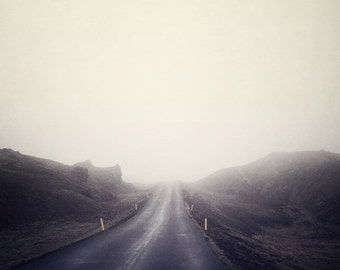 Road in Fog, Iceland, Minimal Landscape Photography, Purple, Plum, Violet, Autumn, Wanderlust Travel, Adventure - All Roads Lead Home
