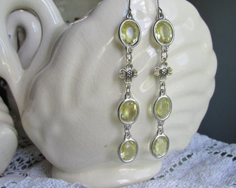 light yellow statement earrings, silver, dogwood assemblage earrings, Dogwood jewelry, assemblage jewelry, sacred cake jewelry