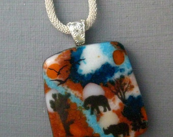 Glass Safari Pendant, Image Pendant, African Inspired Glass Necklace, Square Fused Glass Pendant,  Stone Look Glass Pendant -African Sunset
